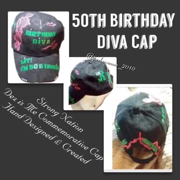 50TH Birthday Diva Cap Black Velvet Swaroski
